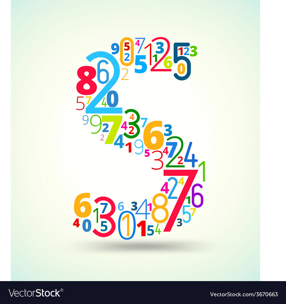 Letter s colored font from numbers vector