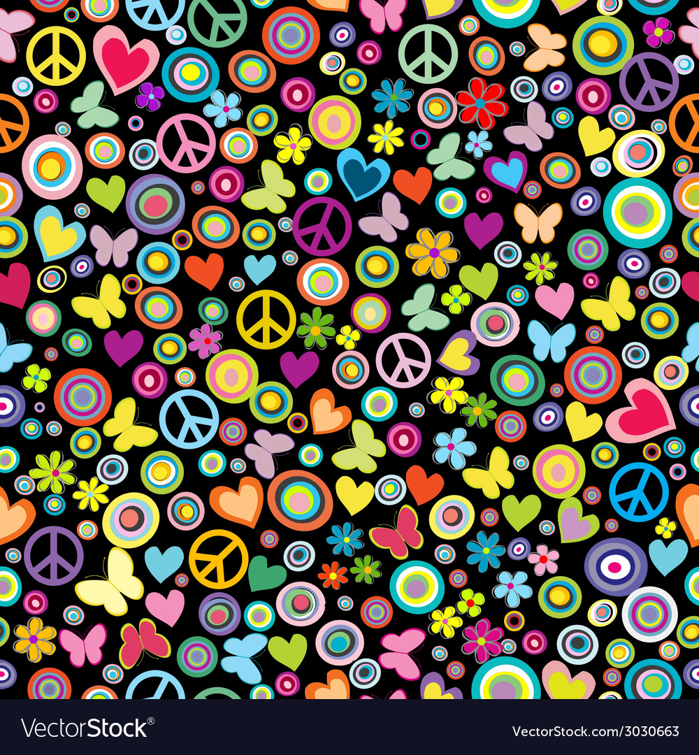 Seamless pattern of flowers circles hearts vector