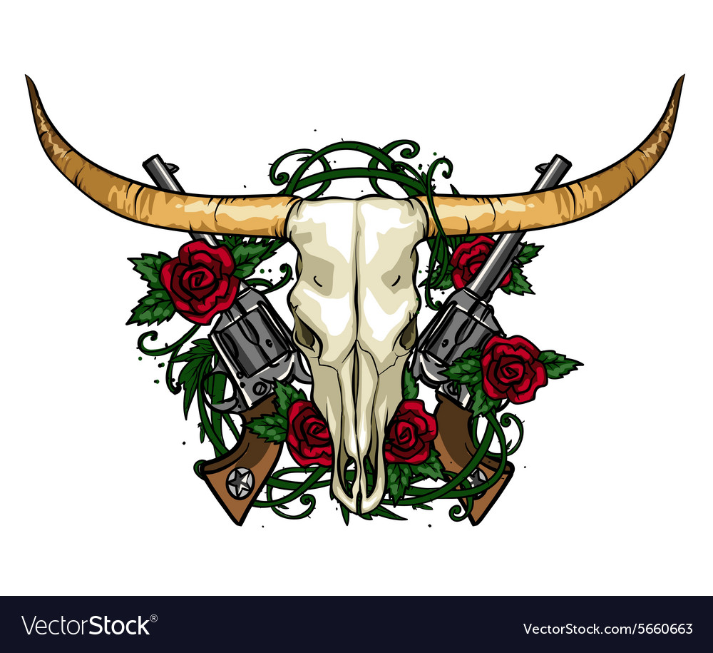 Skull and roses label design vector