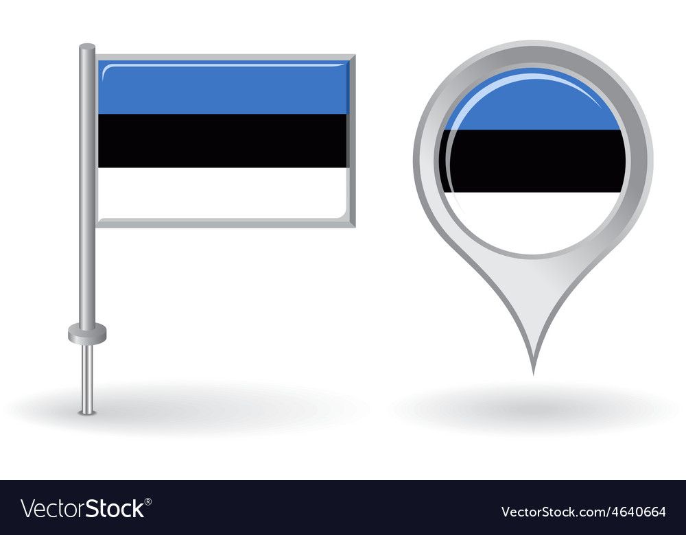 Estonian pin icon and map pointer flag vector