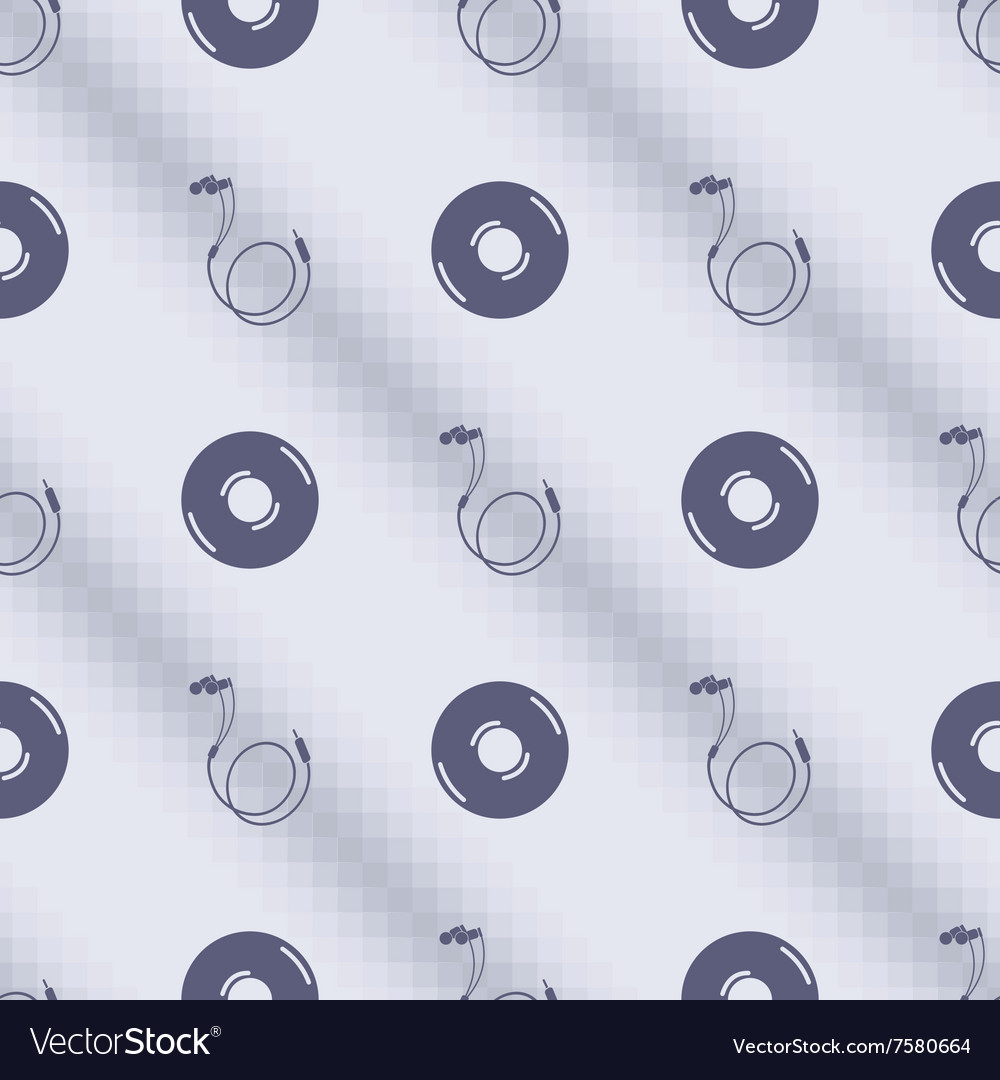Pattern with music plates and headphones vector