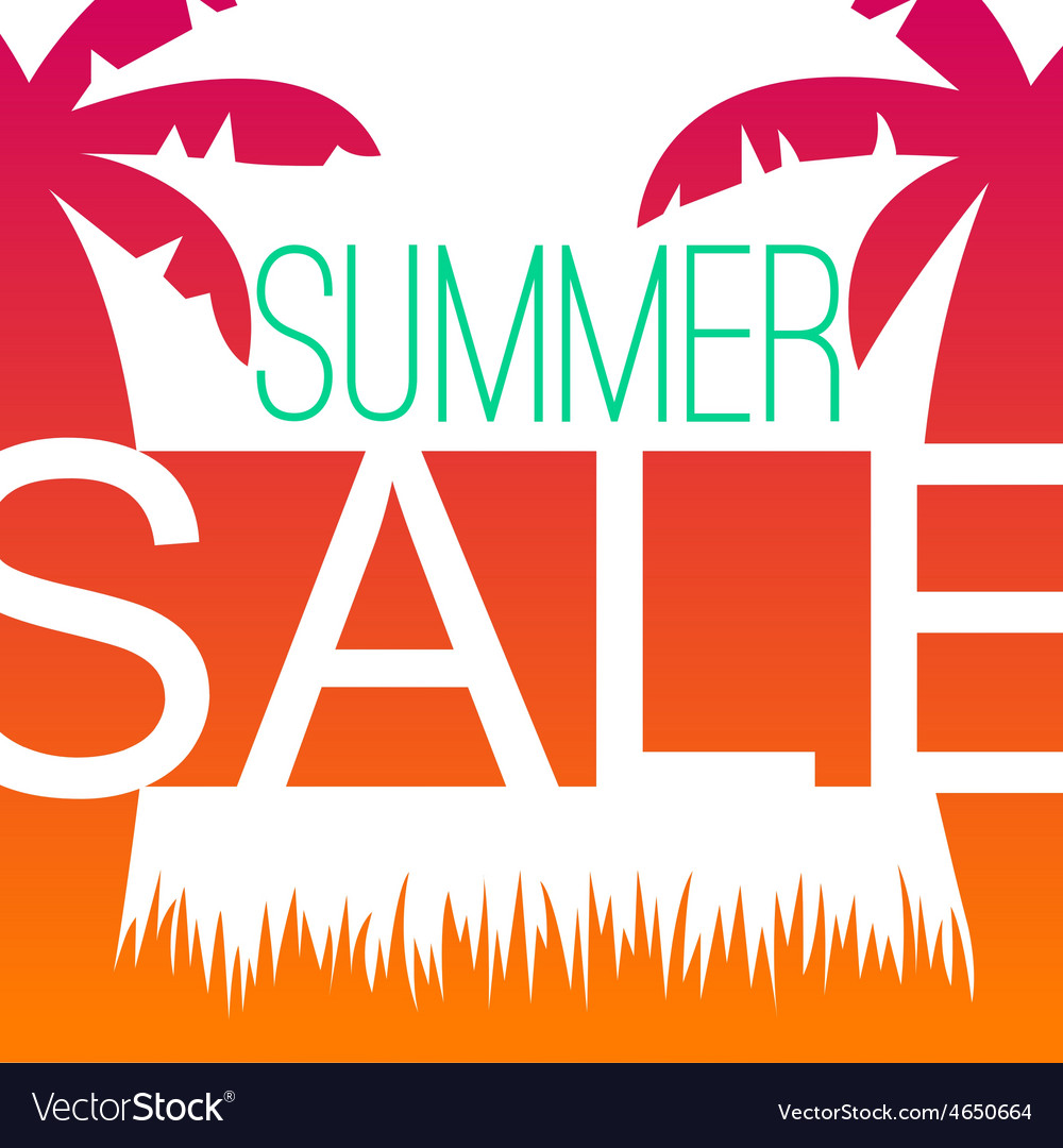 Summer sale design template with palms vector