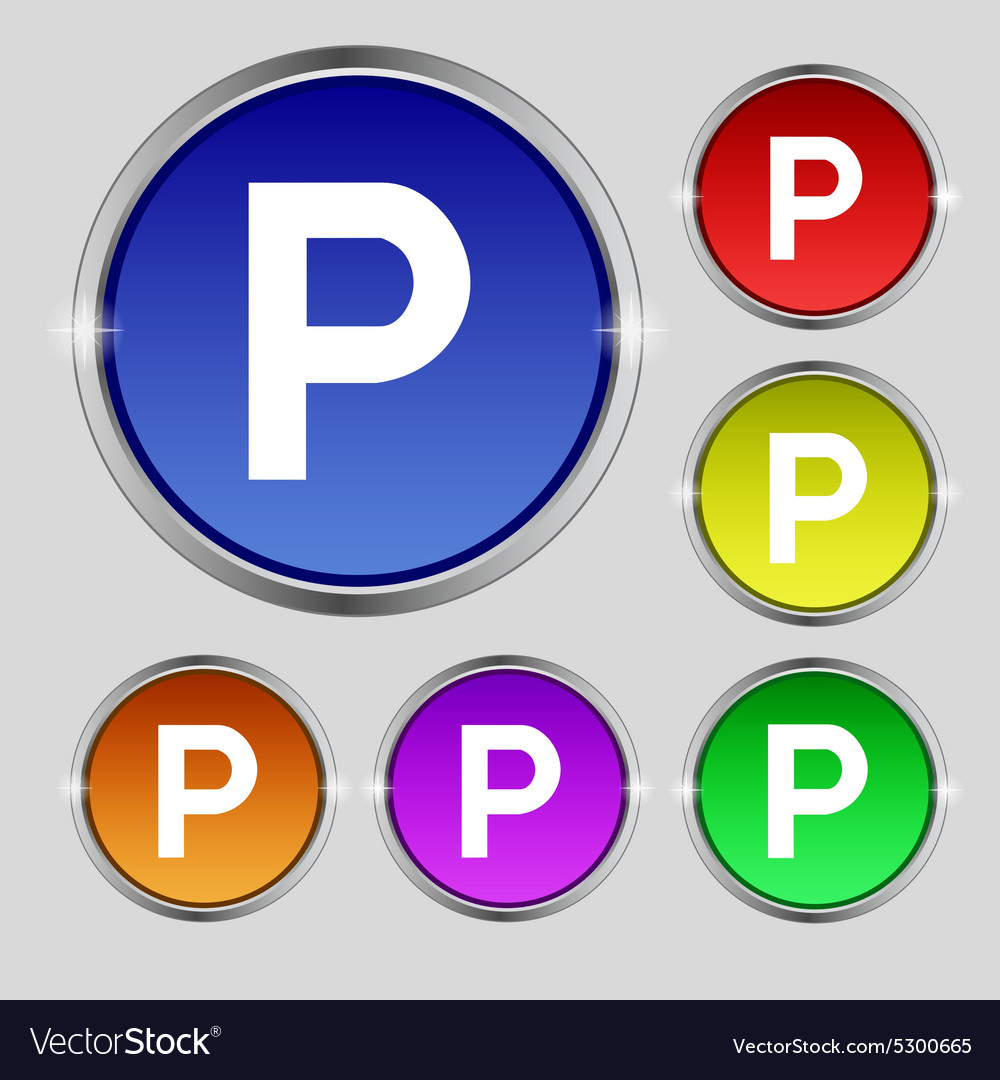 Parking icon sign round symbol on bright colourful vector