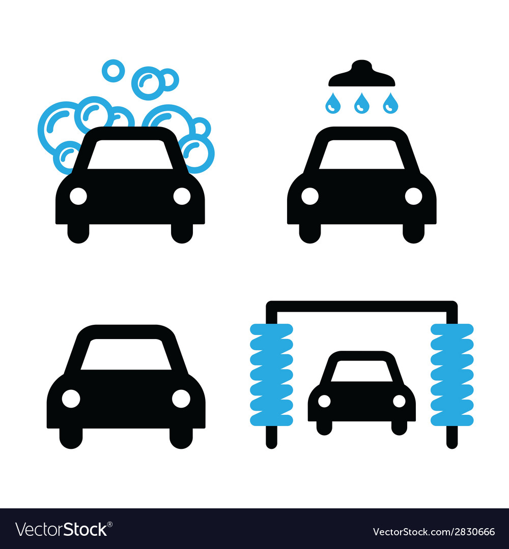 Car wash icons black and blue set  vector