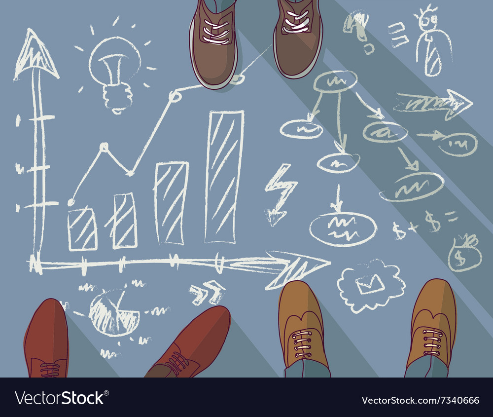Group business man presentation drawing doodles vector
