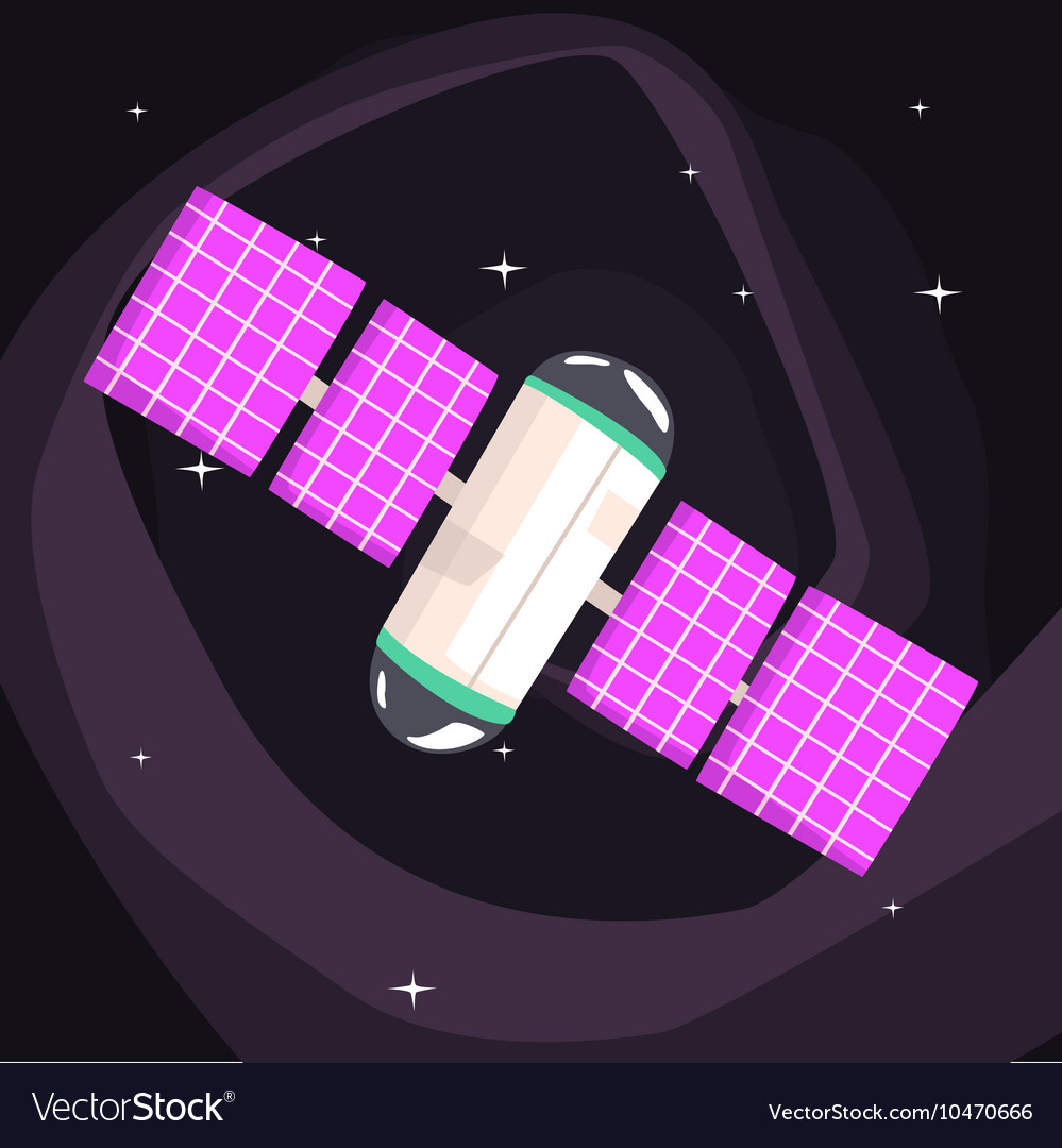 International space station with solar panels vector