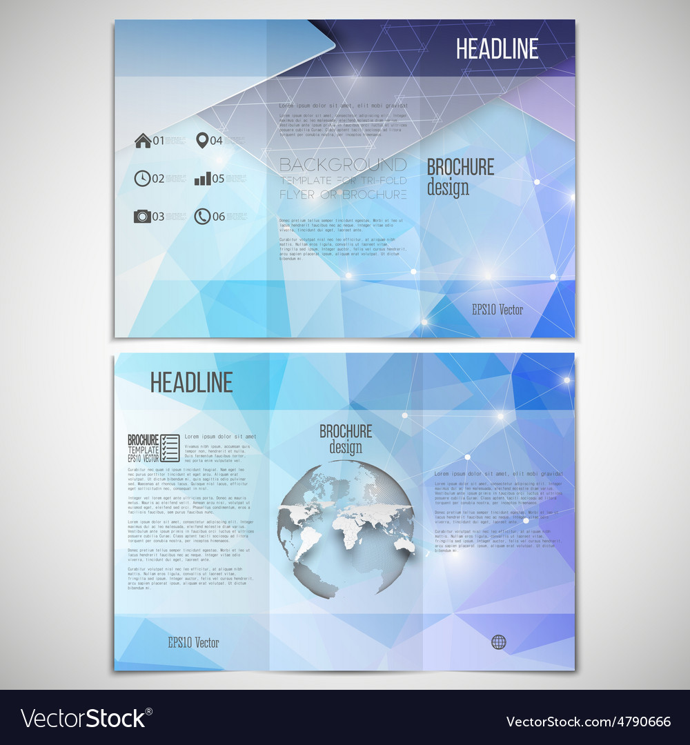 Set of trifold brochure design template on vector