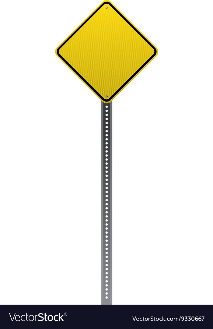 Blank yellow road sign detailed vector
