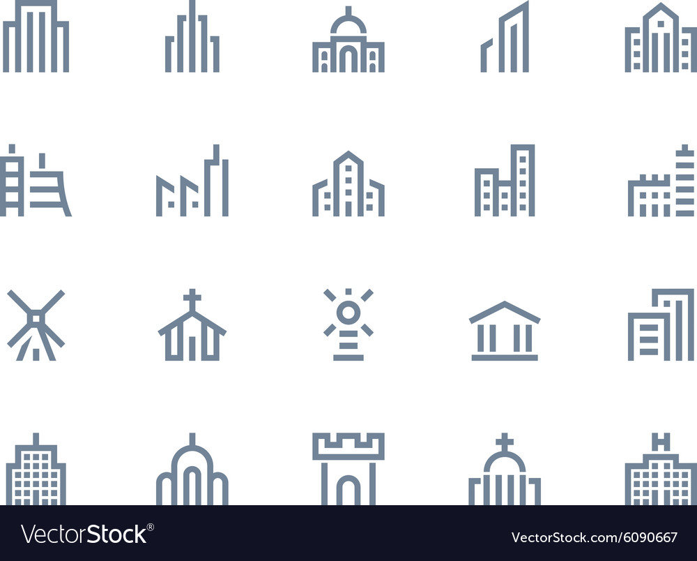 Buildings icons line series vector
