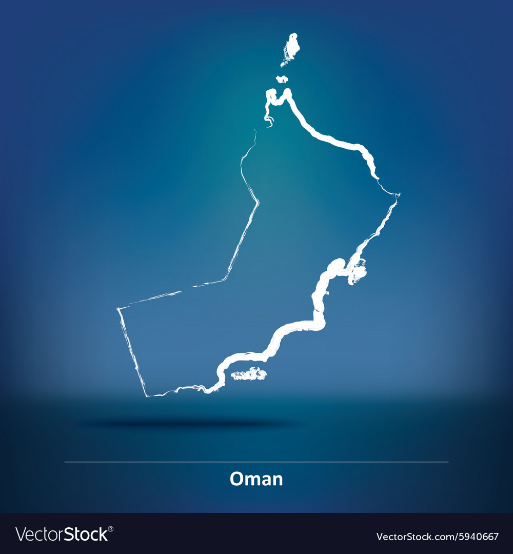 Doodle map of oman vector