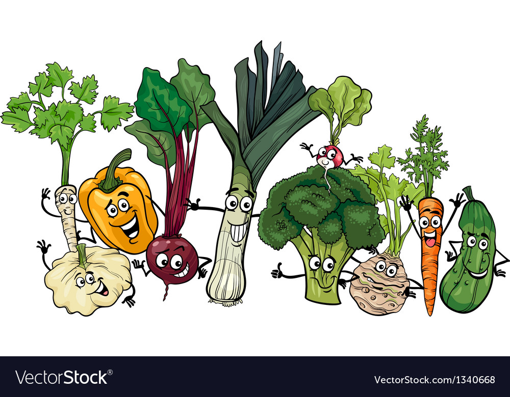 Funny vegetables group cartoon vector