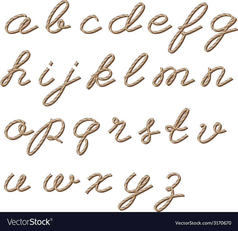 Alphabet in rope style vector