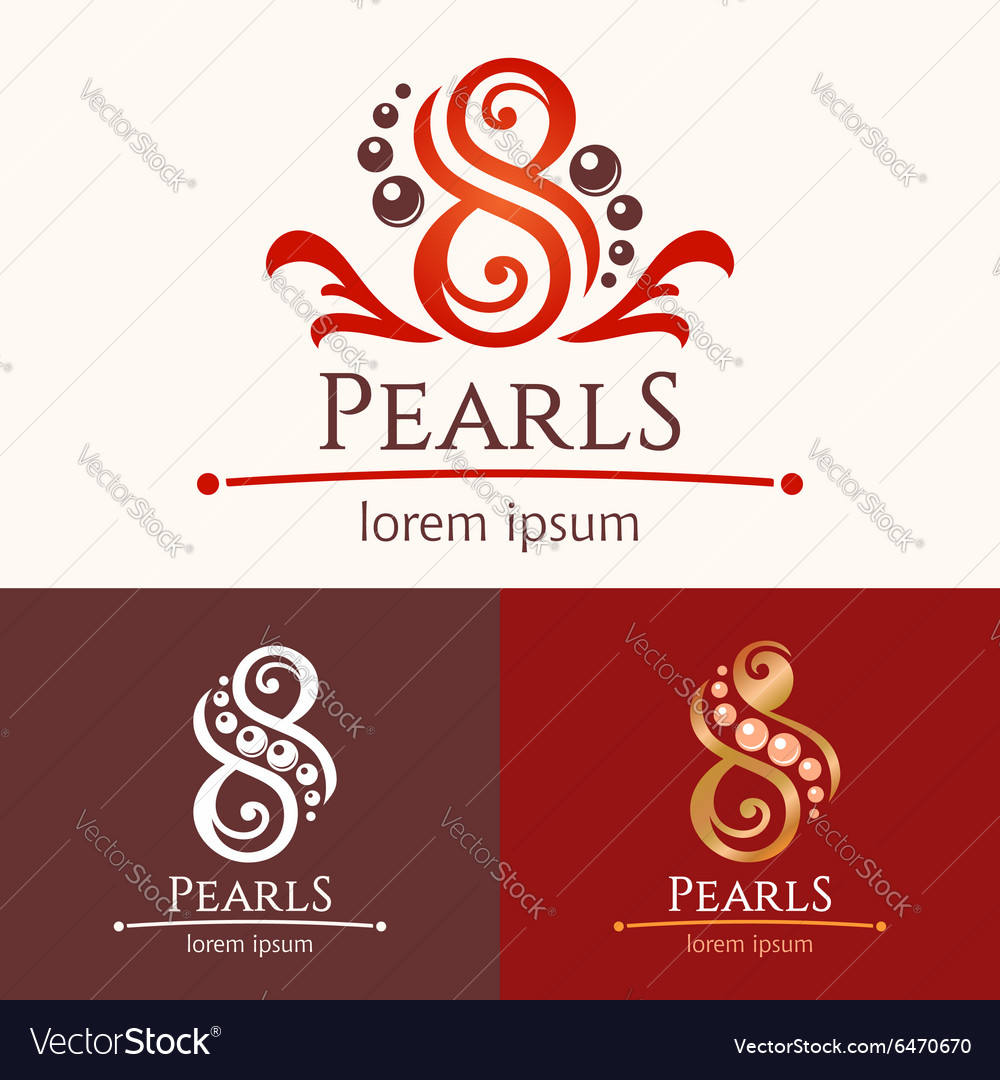 Eight pearls emblem template design set vector