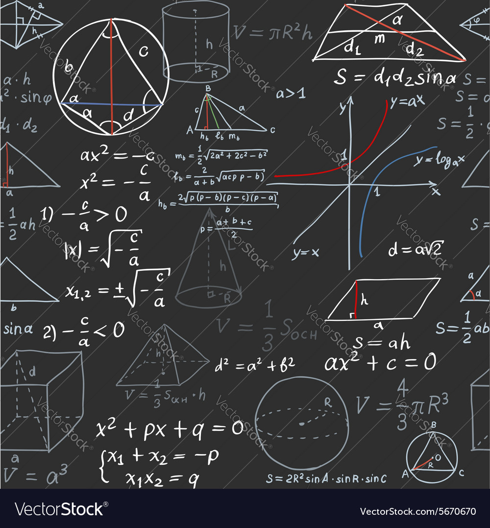 Seamless pattern of the formulas on the geometry vector