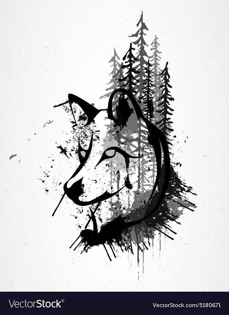 Abstract grunge wolf head vector