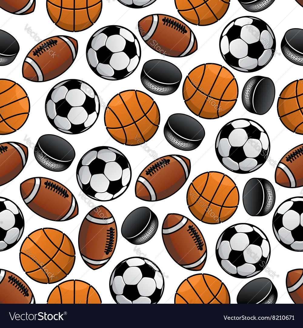 Sports balls and pucks seamless pattern vector