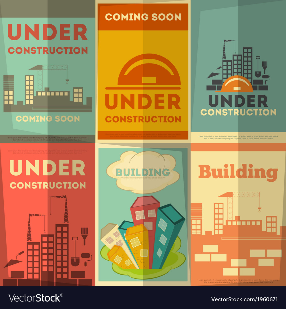 Under construction posters design vector