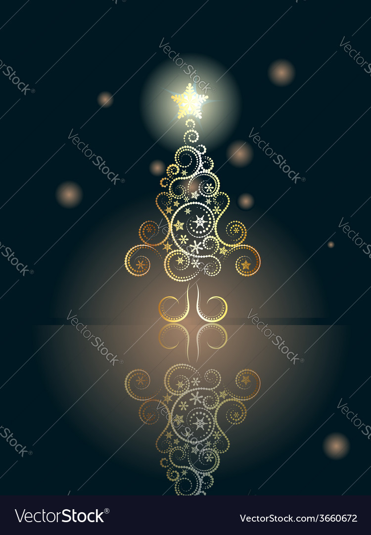 Card with decorative christmas tree5 vector