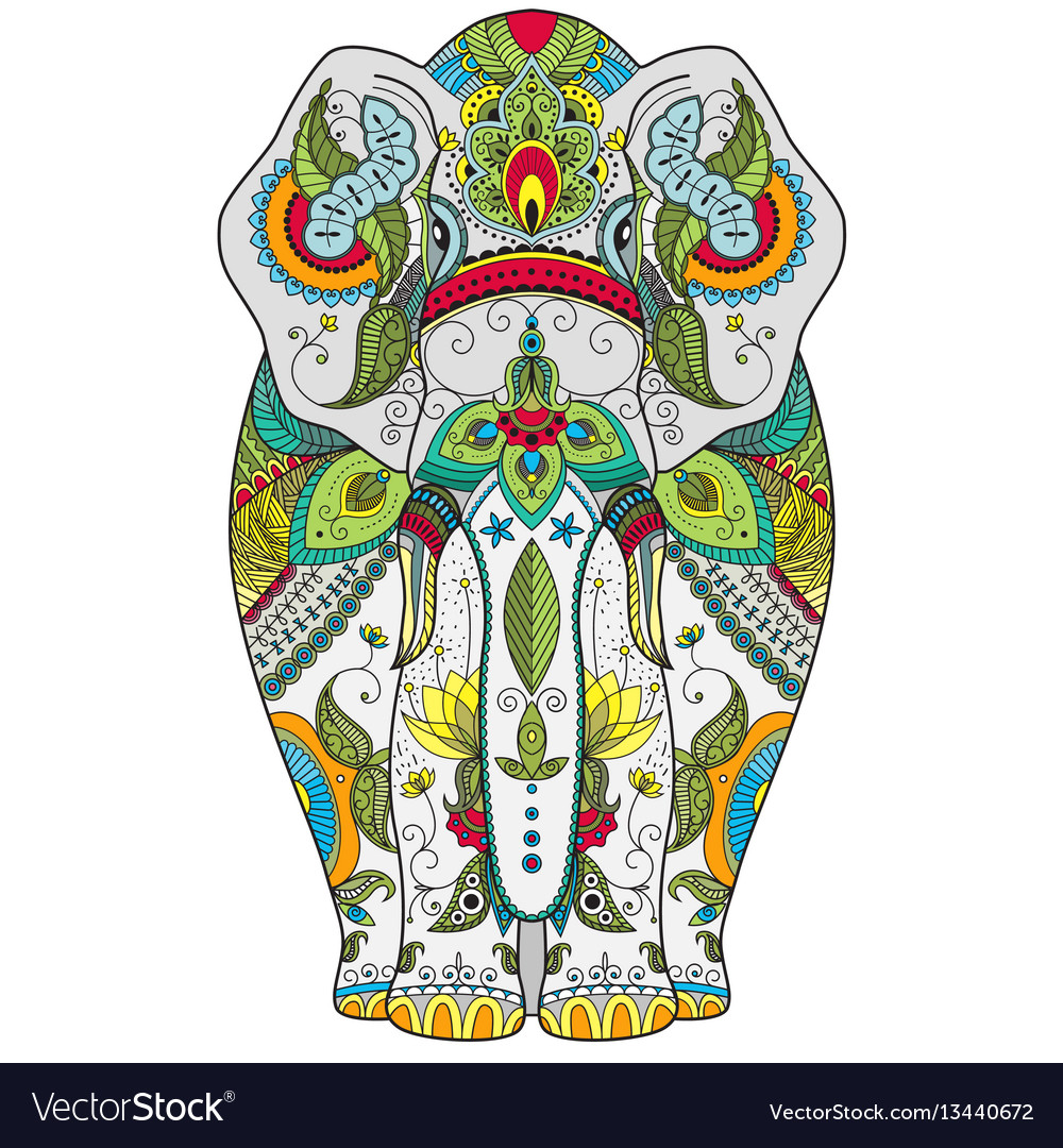 Poster with zenart patterned elephant vector
