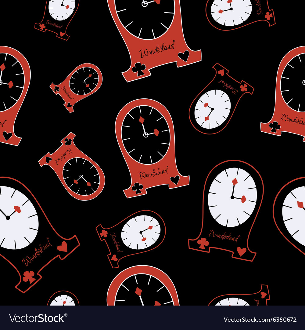 Seamless alice clocks from wonderland vector