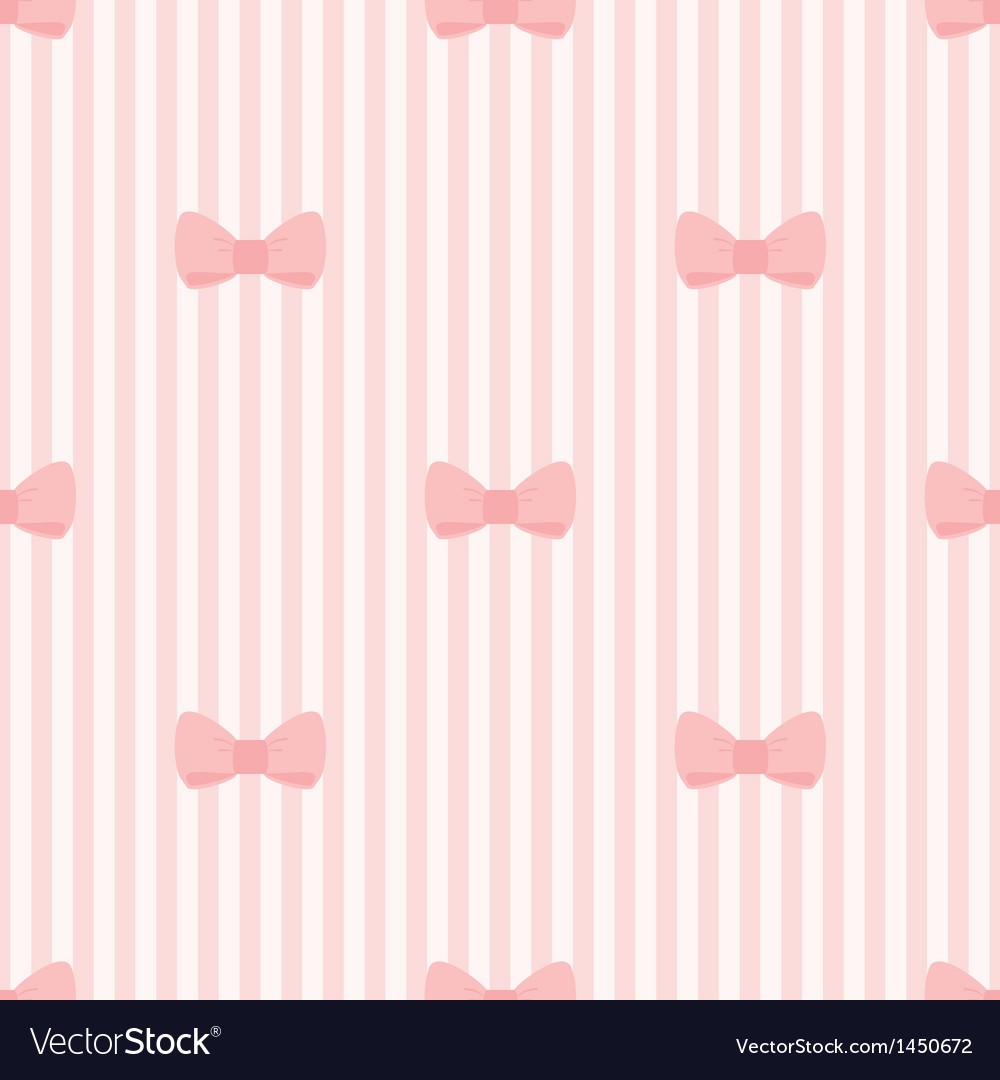 Seamless background bows on pink strips pattern vector