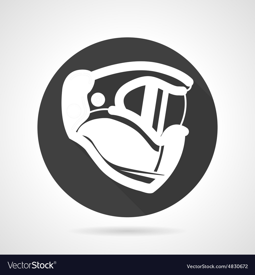 Sport helmet black round icon vector