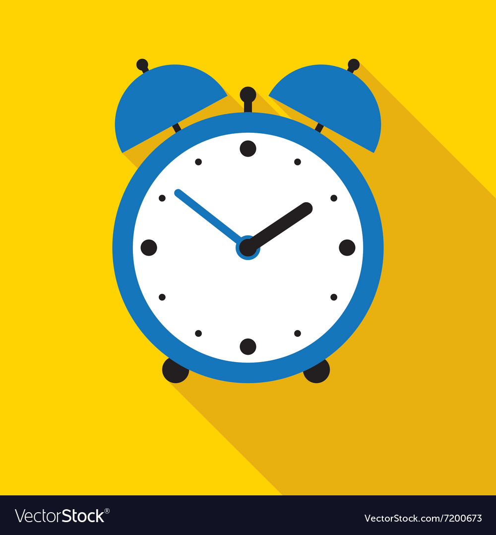 Blue alarm clock in flat style vector