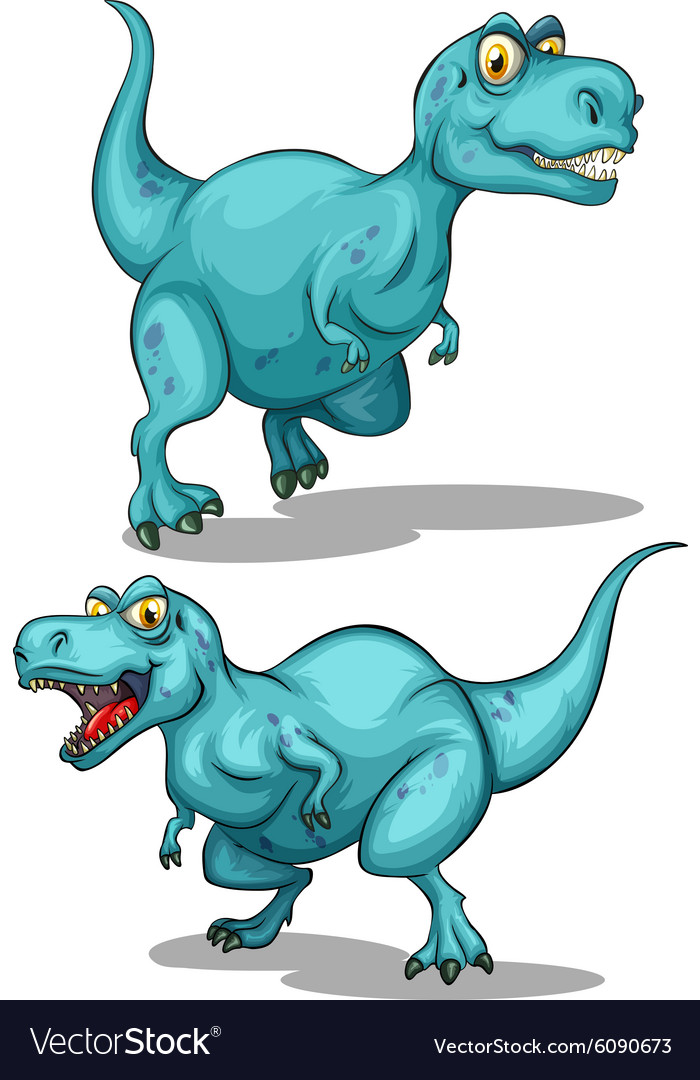 Blue dinosaur with sharp teeth vector