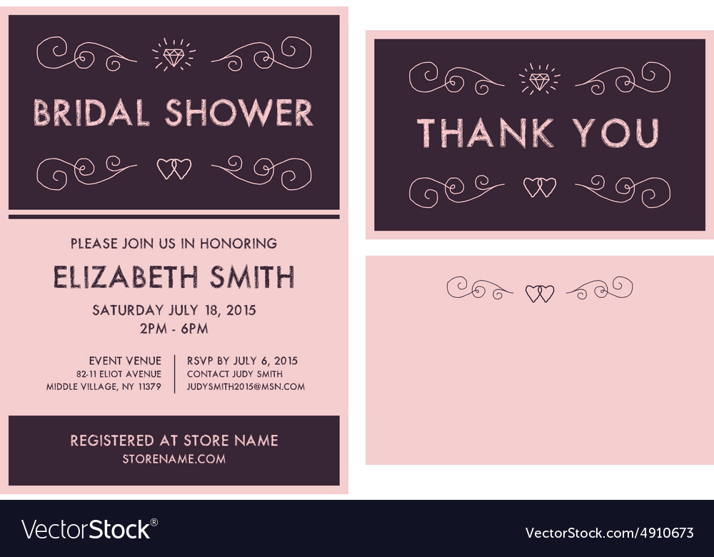 Bridal shower invitation and thank you cards vector