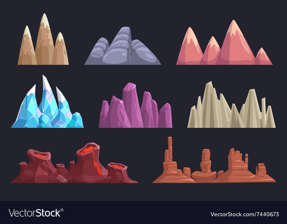 Cartoon rocks and mountains set vector
