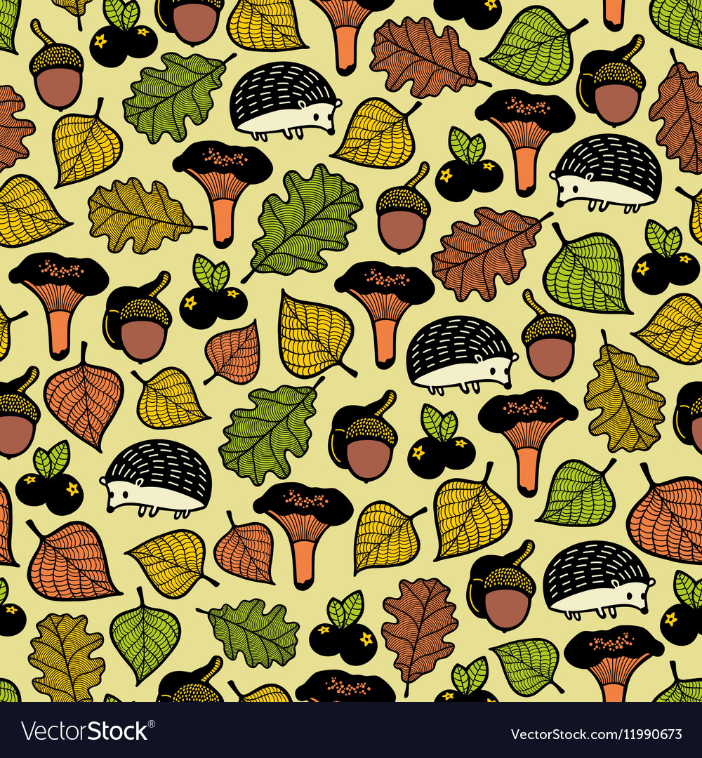 Endless pattern with autumn forest and cute vector