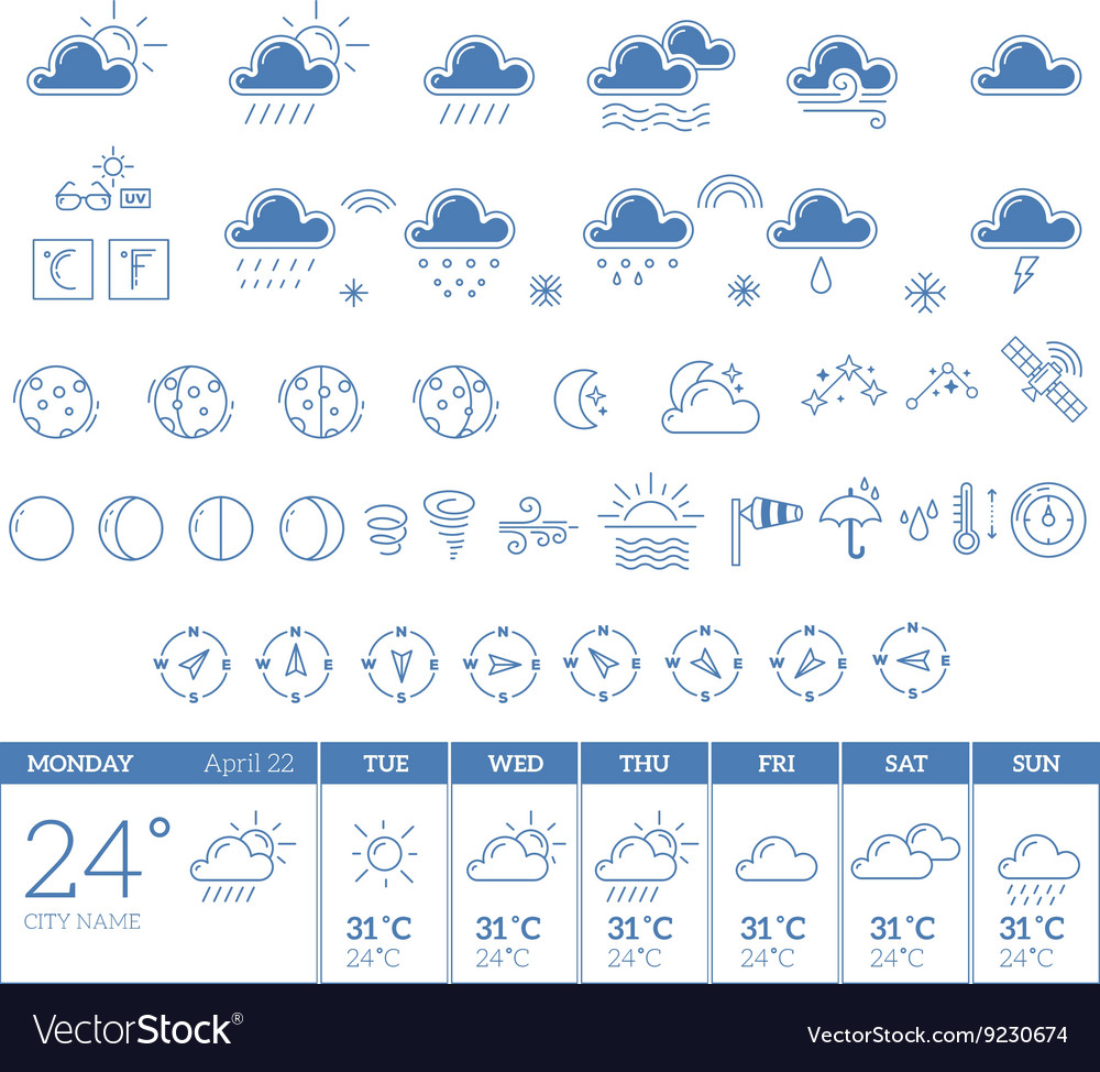 Blue weather theme big icon set with week vector