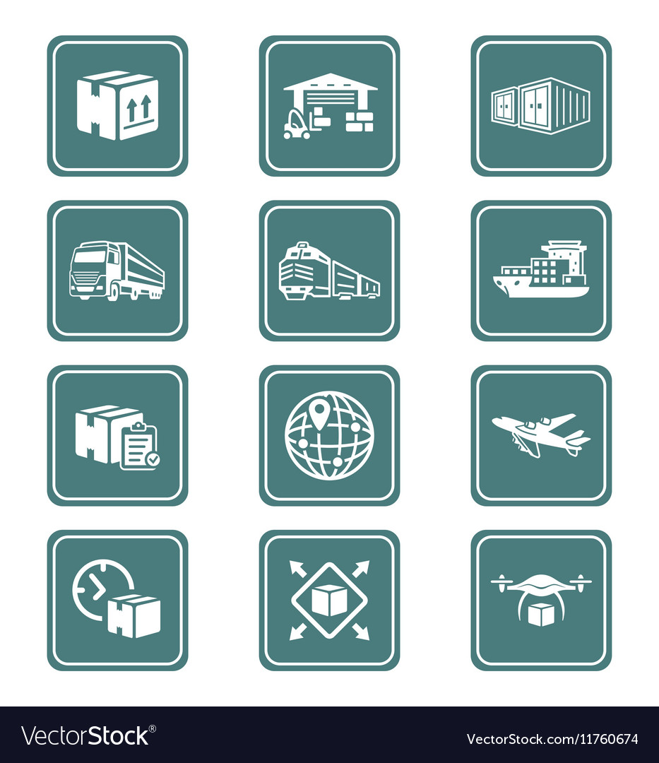 Logistics icons  teal series vector