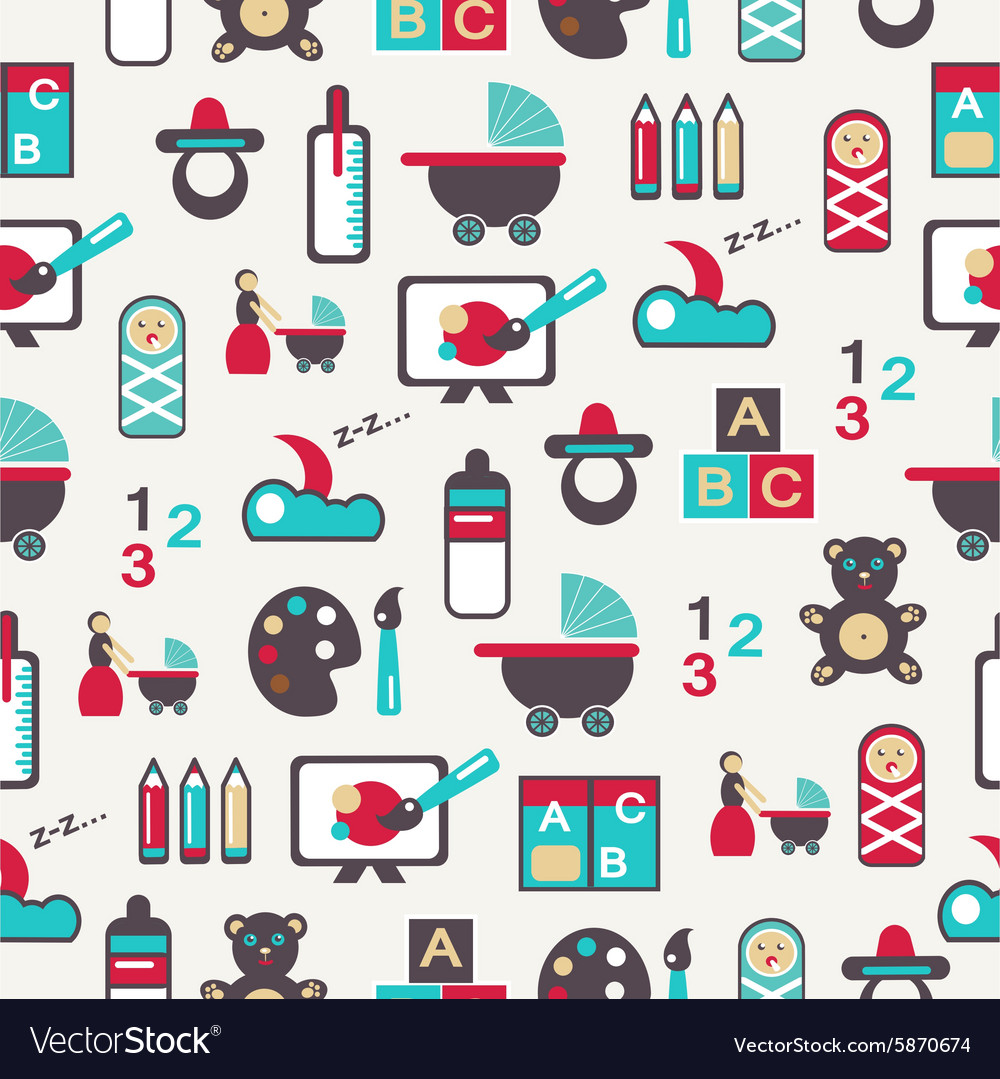 Seamless pattern with nursery equipment vector
