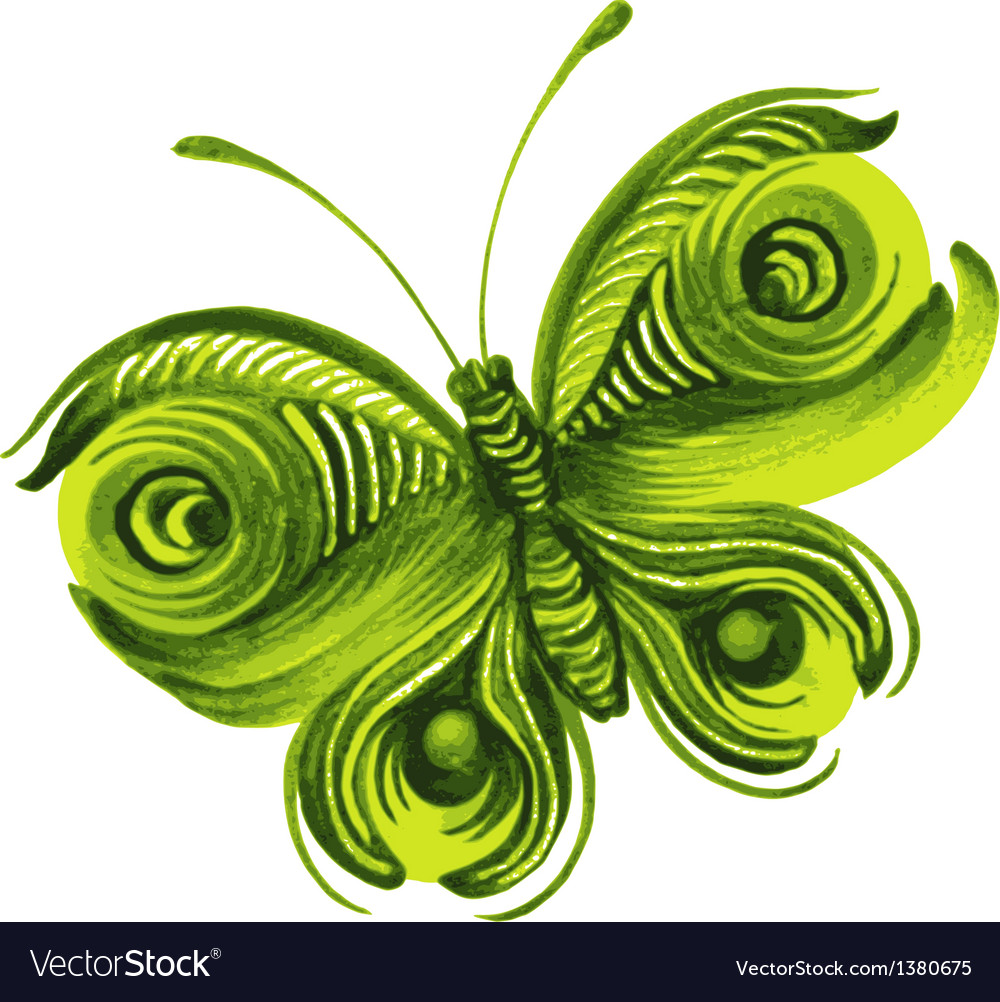 Beautiful green butterfly vector