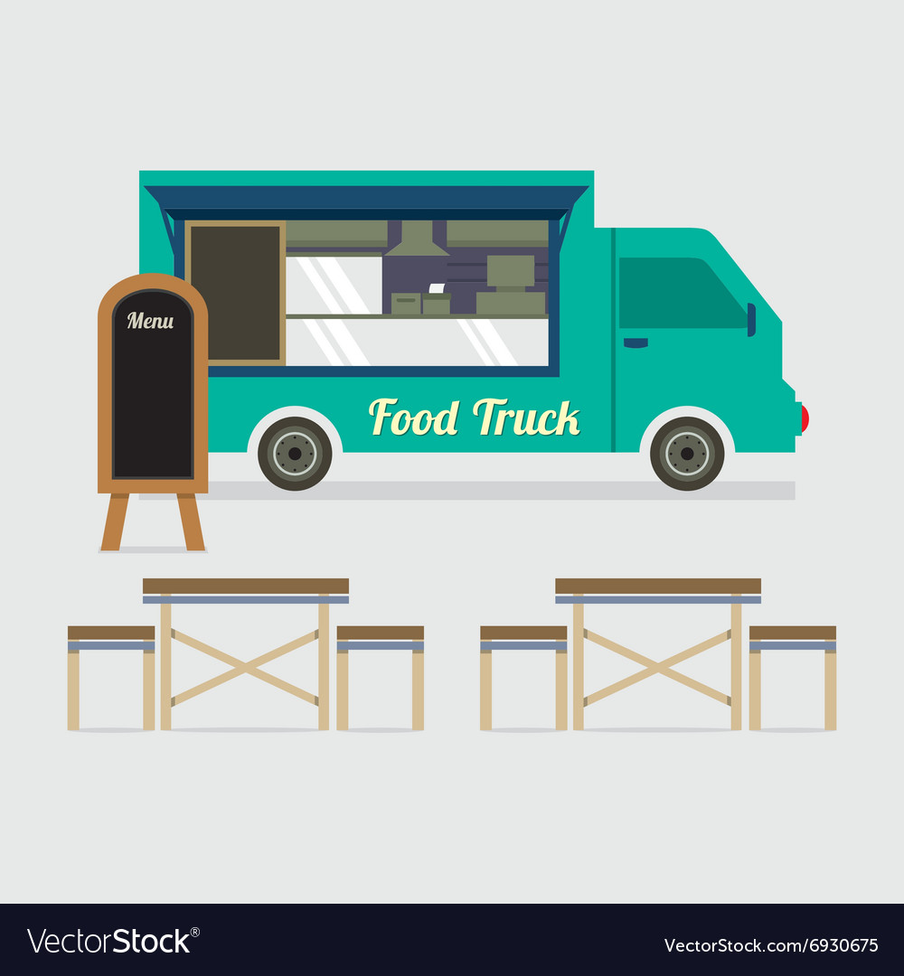 Food truck with table set vector