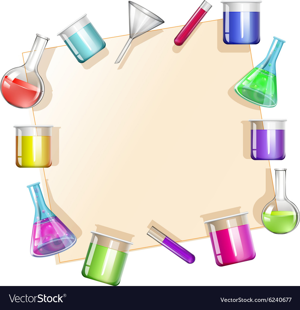 Border with beakers background vector