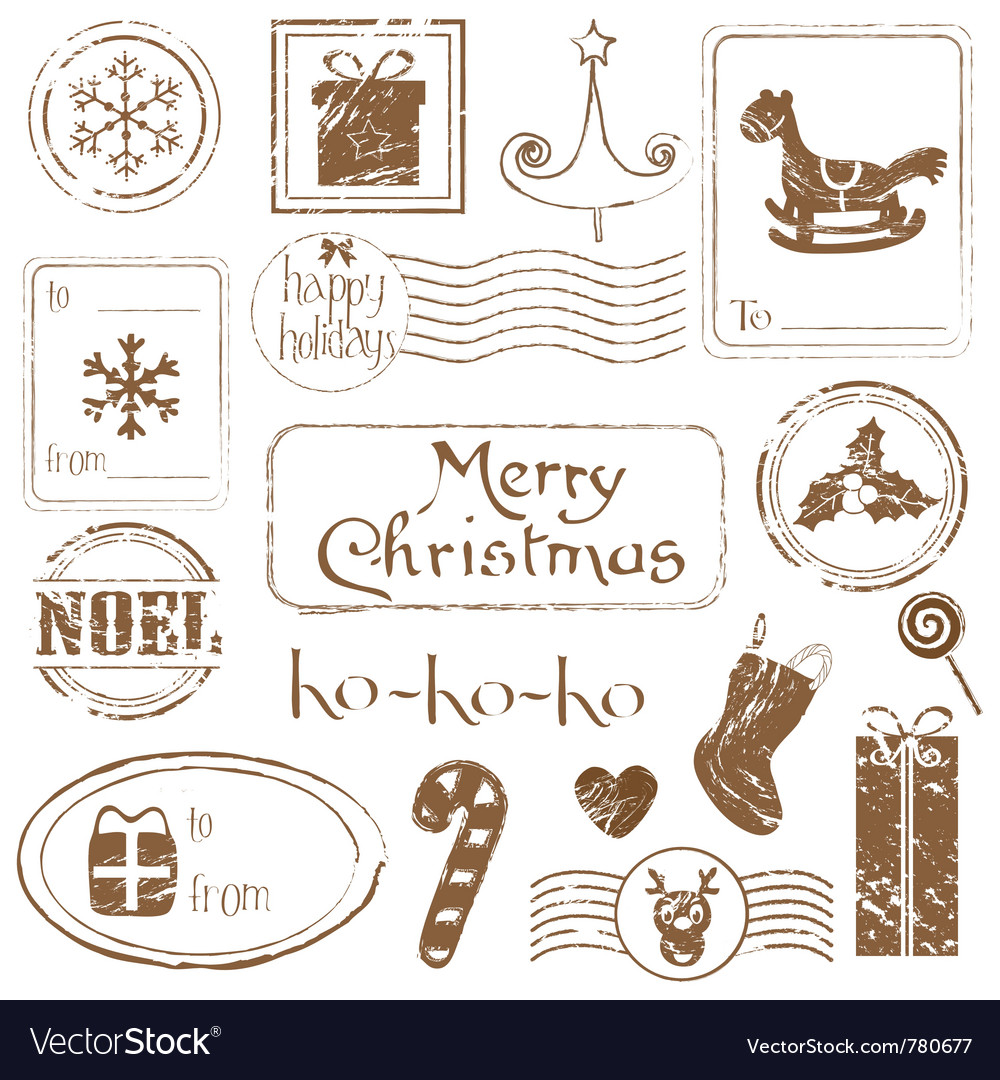 Christmas grunge stamps vector