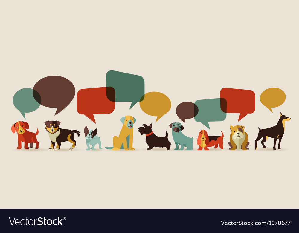 Dogs speaking  icons and vector