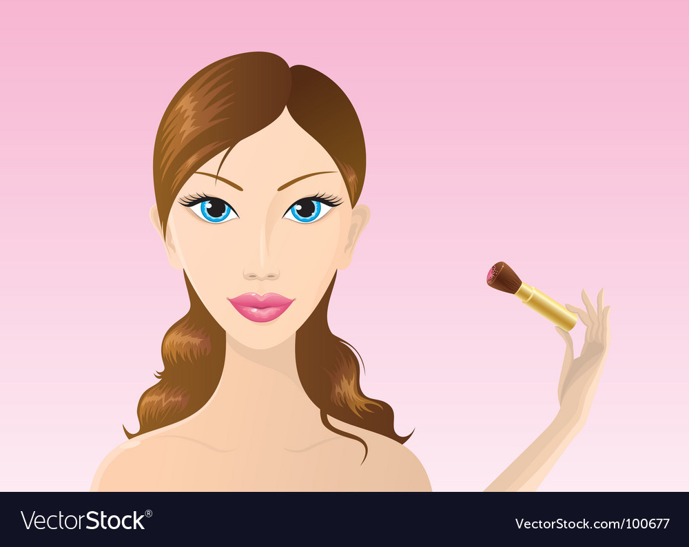 Woman applying makeup vector
