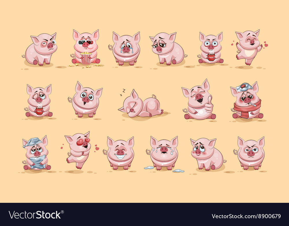 Isolated emoji character cartoon pig stickers vector