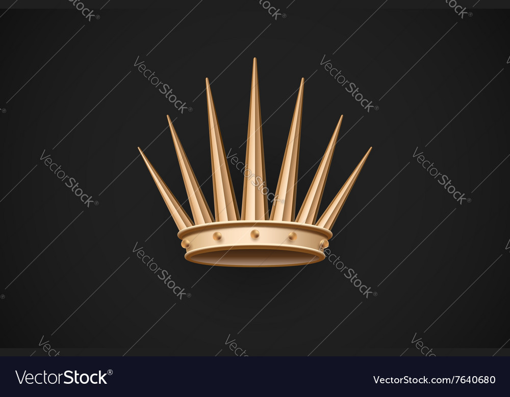 Icon of old royal crown on a dark black background vector