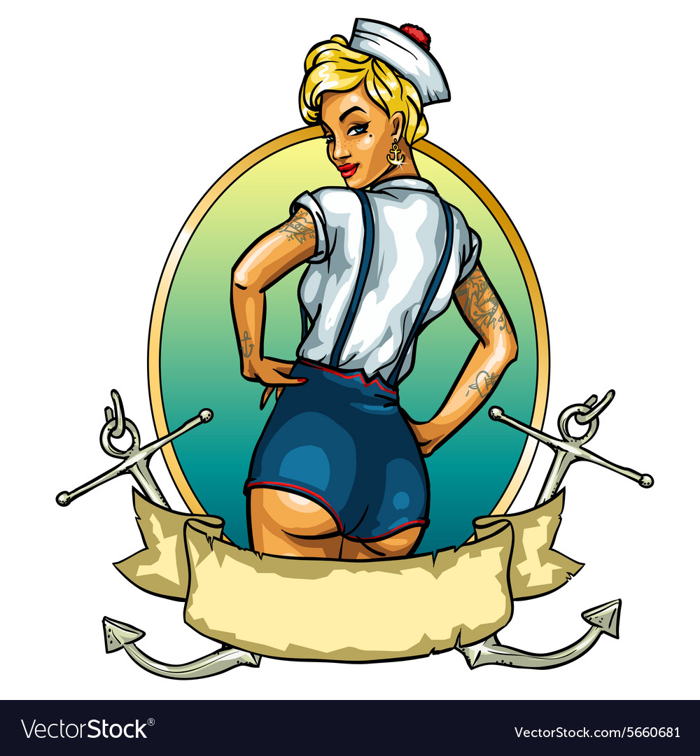 Pin up sailor girl isolated on white  label vector