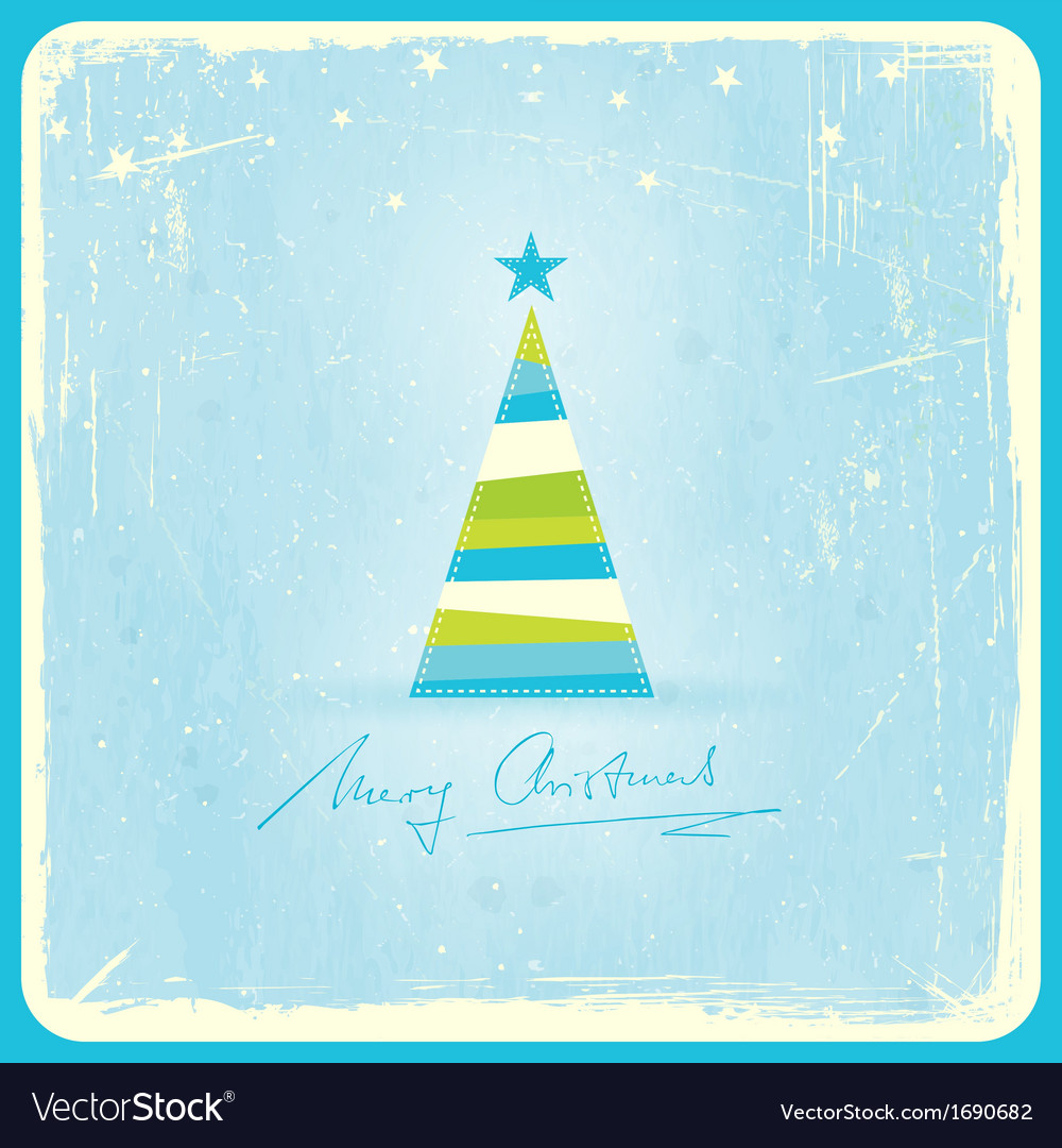 Grunge background with christmas tree vector
