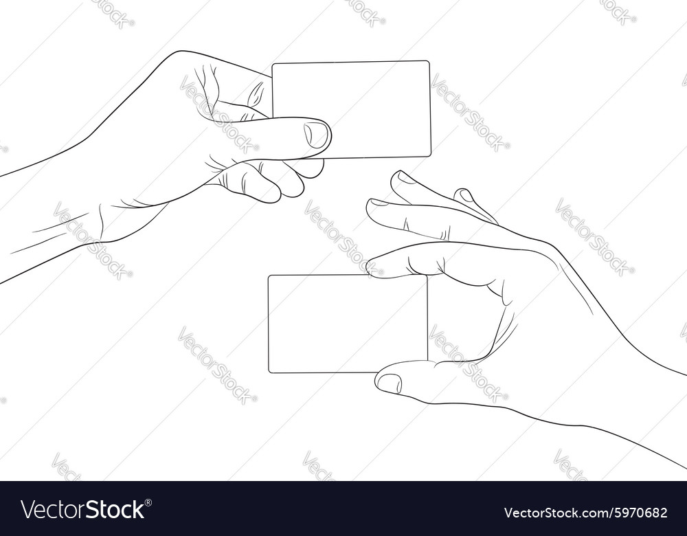 Man hands holding a blank cards outline contour vector