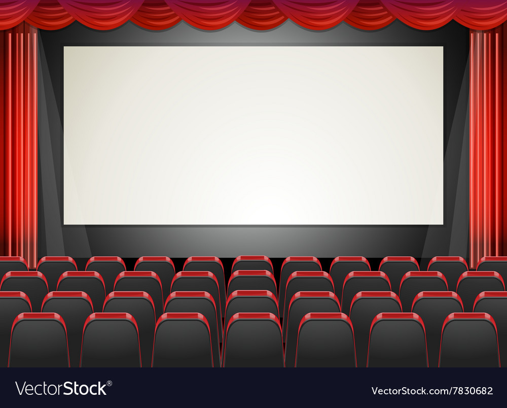 Movie cinema with seats and screen vector