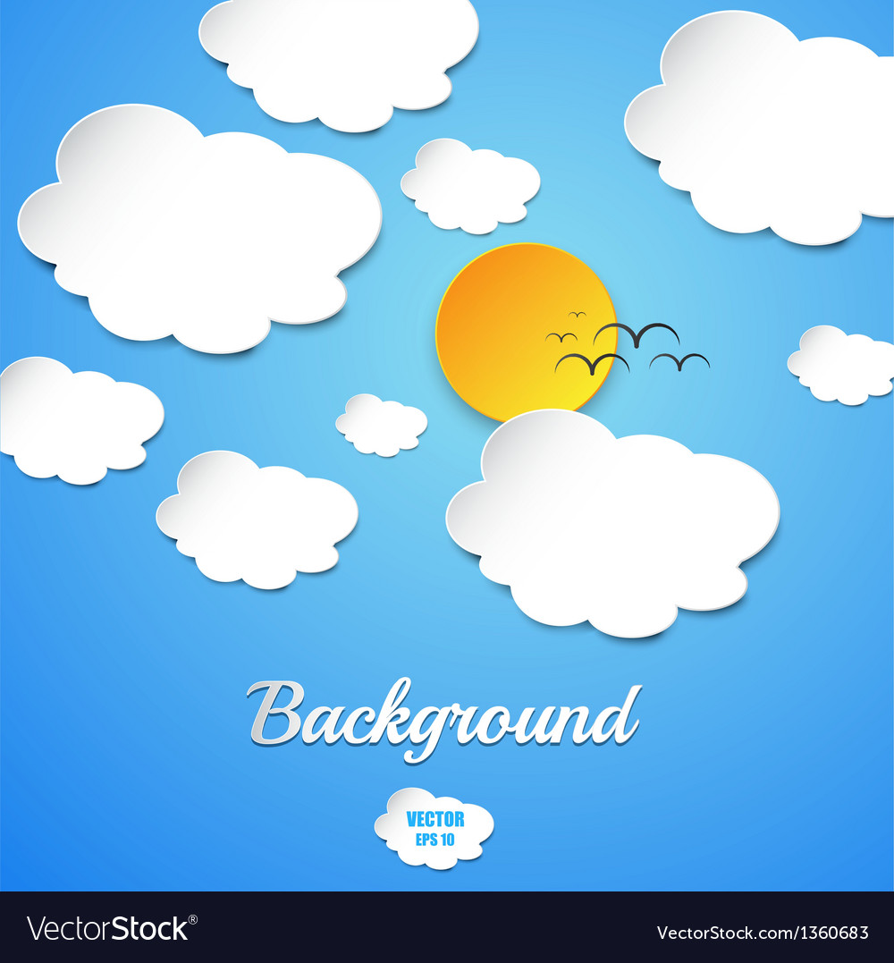 Cut paper sun and clouds vector