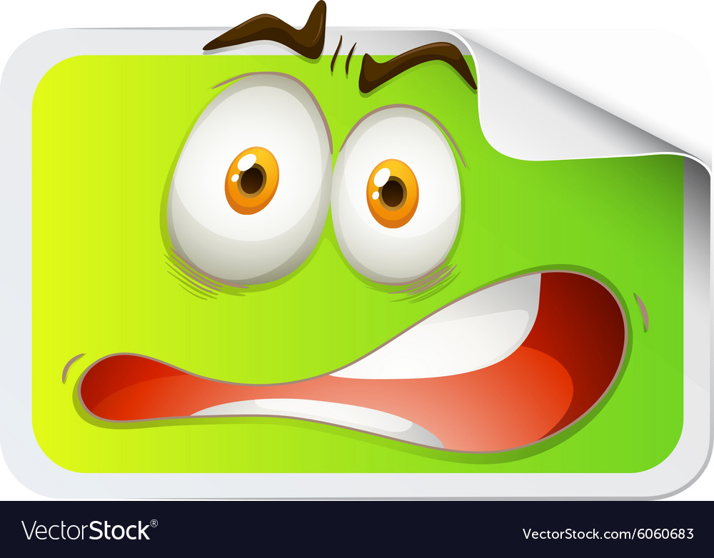 Rectangular sticker with scared face vector