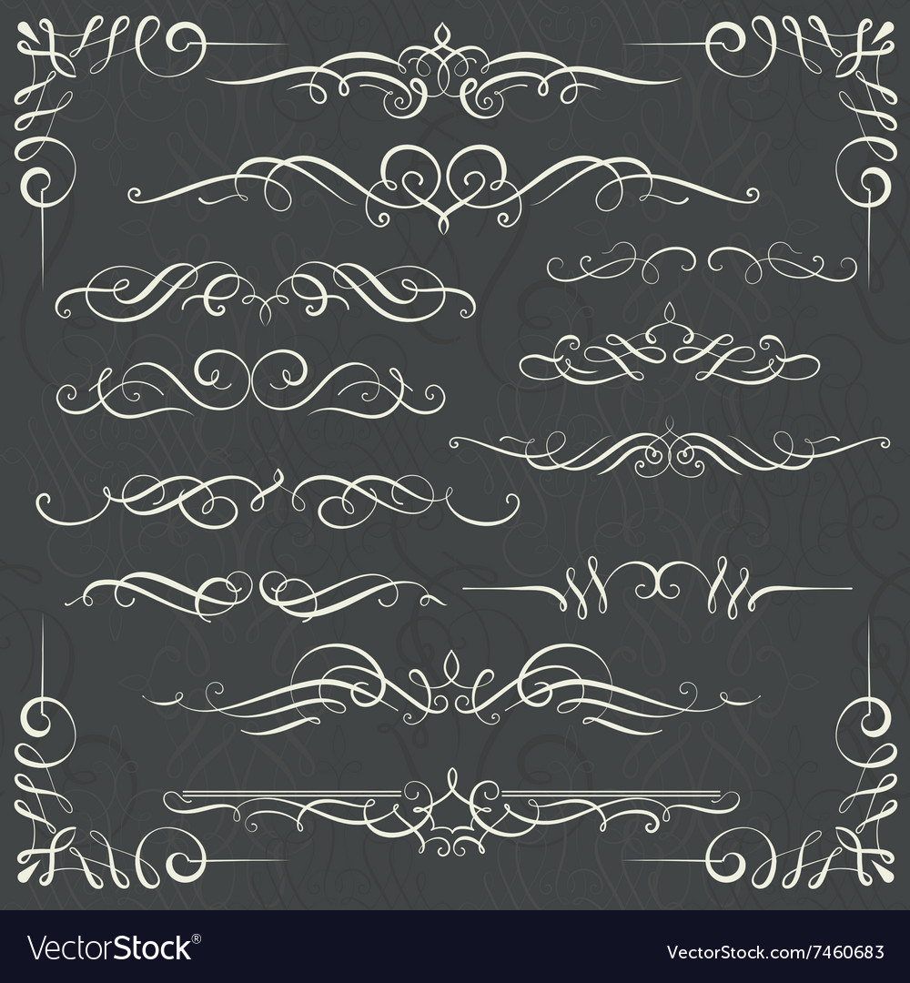 Set of calligraphy swirls for your design vector