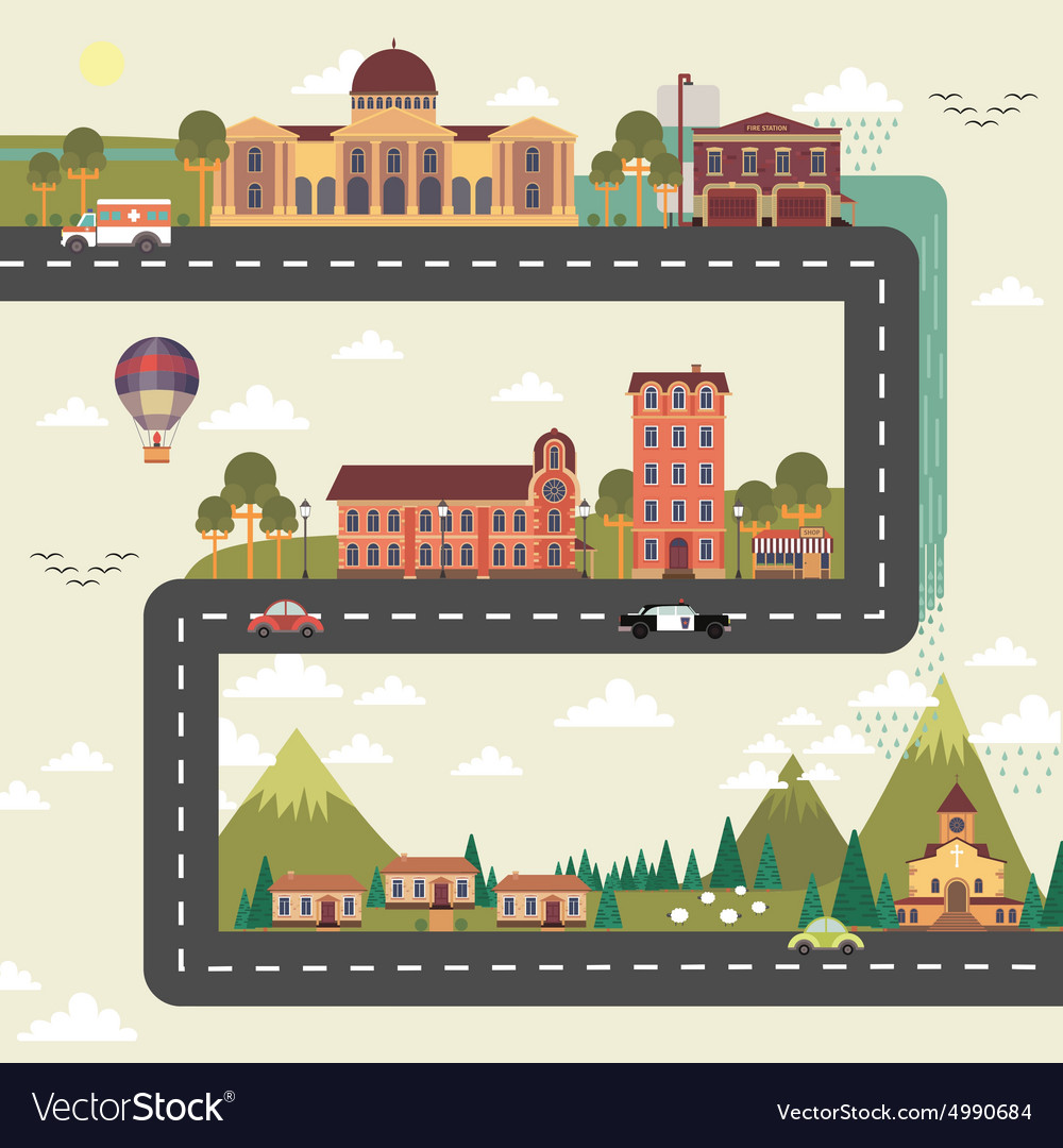 City and suburb street poster vector